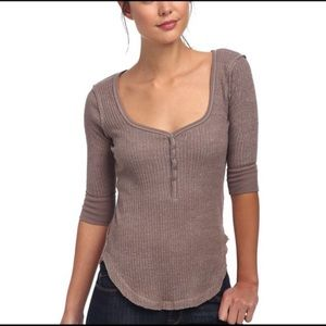 Free People | Brown Ribbed Sweetheart Henley Top